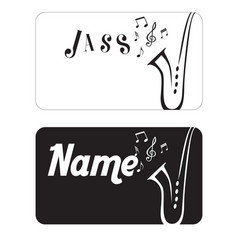 Name card jazz saxophone black background i vector