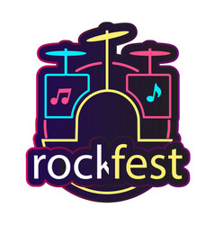 neon rock fest drum background image vector image