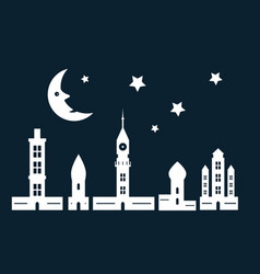 night city with paper cut towers and buildings vector image