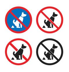 no pet waste sign dog poop icon set vector image