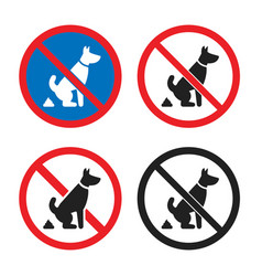 no pet waste sign no dog poop icon set vector image