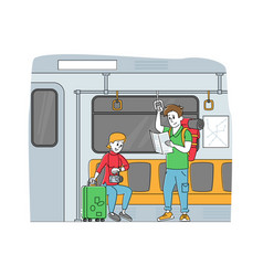 People going subway train tourist characters vector
