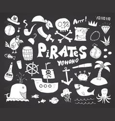 Pirate doodles set cute pirate items sketch vector