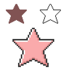 Pixel icon star in three variants fully vector