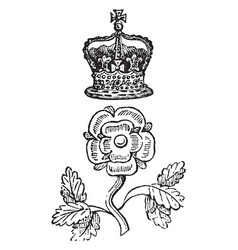 Rose and crown badge is a distinctive mark worn vector