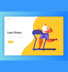 Running fitness character design for landing page vector