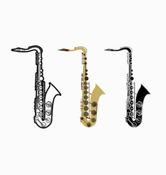 saxophone instrument cartoon music graphic vector image