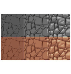 Seamless stone texture 3 step drawing brown and vector