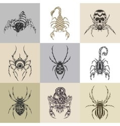 set nine tattoo vector image