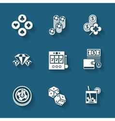 Set of black casino icons vector
