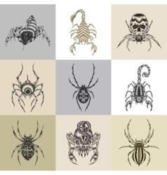 Set of nine tattoo vector