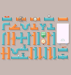 Set of plumbing pipes for home vector