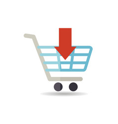 shopping cart with an arrow icon vector image