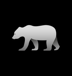 silhouette of a gray bear standing bear side view vector image