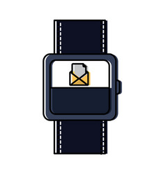 smart watch with incoming message mail icon vector image