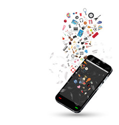 smartphone with many shopping objects floating on vector image