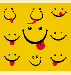 smiling face with tongue on yellow background vector image