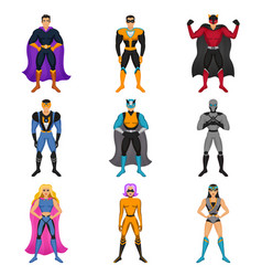 Superhero costumes set vector