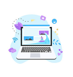 Surfer surfing a wave web page vector