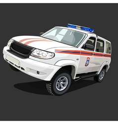 SUV police car with flashing lights vector