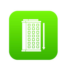 Tall building and down arrow icon digital green vector