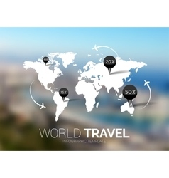 template World Map on blurred nature vector image