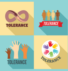 Tolerance logo set flat style vector