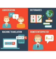 Translation and dictionary concepts in flat style vector