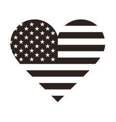 Usa flag in form a heart vector