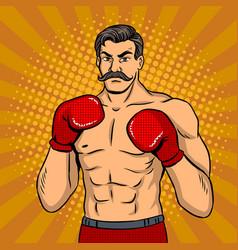 vintage boxer fighter with mustache pop art vector image