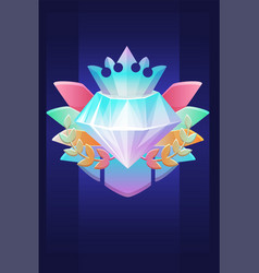 Vip award diamond prize with crown badge for ui vector