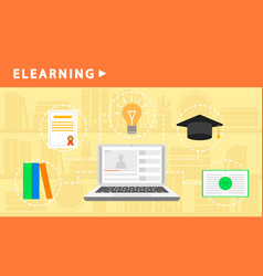 web learning banner flat style vector image