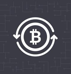 white bitcoin symbol with circle arrows vector image