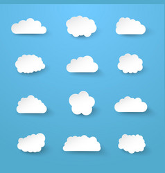 white paper cut clouds collection vector image