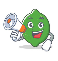 with megaphone lime character cartoon style vector image
