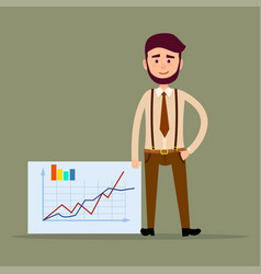 Young manager standing near placard with charts vector