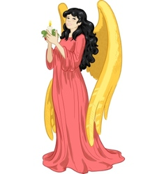 Beautiful Asian female angel with candle vector image