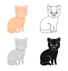 cat icon in cartoon style isolated on white vector image