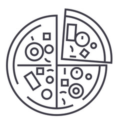 pizza line icon sign on vector image vector image