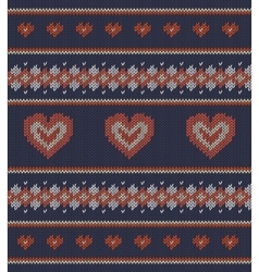 Striped pattern with red hearts on blue background vector
