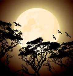 big yellow moon and silhouettes of tree branches vector image vector image