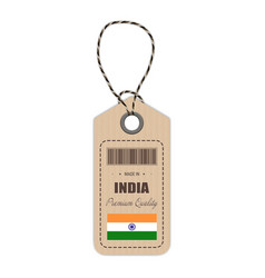 hang tag made in india with flag icon isolated on vector image vector image