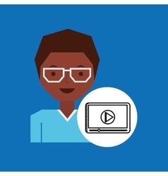 cartoon tablet play media character vector image