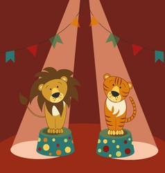lion and tiger in circus vector image