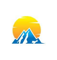 mountain and sun logo design vector image