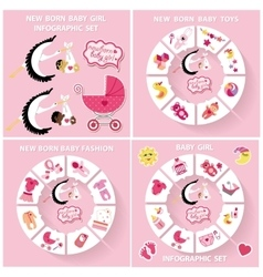 New born baby girl circle infographic set vector image