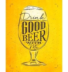 Poster good beer yellow vector image