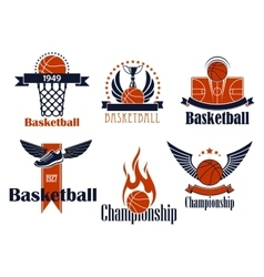 Basketball sport icons with game items vector image vector image