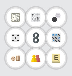 flat icon games set of people mahjong lottery vector image vector image