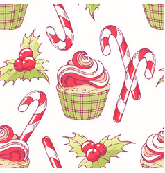 hand drawn seamless pattern with christmas cupcake vector image